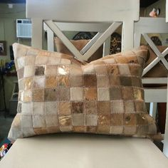 Square Patter Design cowhide pillow Gold Metallic Leather available in Houston Texas (713)8802105