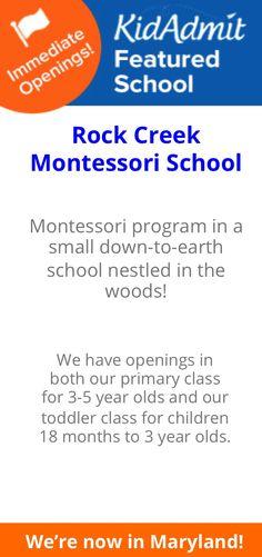 Preschool spots available at Rock Creek Montessori in Wheaton, www.kidadmit.com