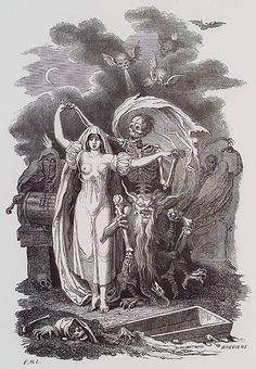 E.-H. Langlois. Essai Historique, Philosophique et Pittoresque sur les Danses des Morts. n.c. : n.p., 1852, Plate Frontispiece. E.H.L.. The frontispiece of this pioneering study of the danse macabre theme shows death attended by demons, leading a placid woman into grave. The pose of both reminds one in fact of the chevalier at the ball, with his waltzing partner.