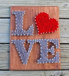 LOVE Nail and String Art Wall Decor