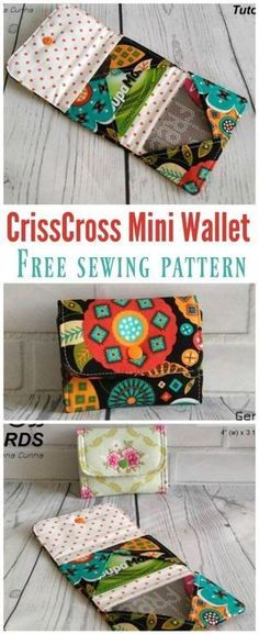 Free sewing pattern for this mini wallet. So cut and quick to sew too. Scrap buster!