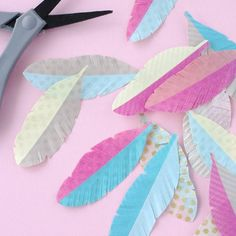 Make a flurry of lovely washi tape feathers. Step by step photo tutorial.