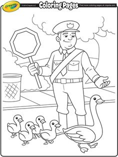 Color in this helpful scene with this printable coloring page for kids.