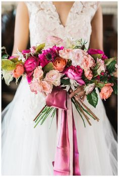 Stunning pink bridal bouquet by Forage & Fleur. Blush pink dress by Chaviano Couture. Image by Rustic White Photography at Summerour Studio in Atlanta, GA.