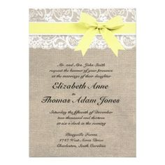 yellow, grey, lace, invitation   Traditional Wedding Invitations » Wedding Invitations