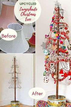 Upcycled rustic Christmas tree made from old wire lampshades. Leave it plain for the simple rustic look or decorate for a more Boho vibe. Handmade Christmas Decorations, Diy Christmas Tree, Modern Christmas, Christmas Crafts For Kids, Rustic Christmas, Simple Christmas, Holiday Decorating, Christmas Things, Xmas Tree
