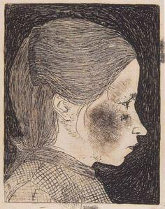 Jan Mankes – Portret Akke Venema, in profiel naar rechts, 1914, Etching, 118x87 mm