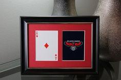 Atlanta Hawks 5x7 Blackjack Diamonds Authentic Playing Card Display by SinCityDisplays