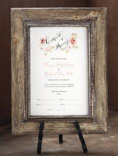 Marriage Certificate Wedding Certificate Custom by eDanae on Etsy