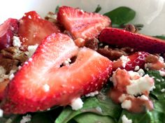 #Strawberry spinach salad with homemade strawberry-lemon dressing. Ready for #summer!