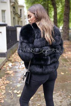 Black Cropped Fox Fur Coat