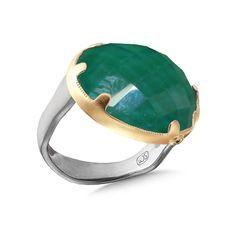 Moss Aquamarine Estrella Ring    Rose Cut White Quartz Green Agate 14k Yellow Gold Bezel with Black Diamond Accent Sterling Silver Band sand blast finish
