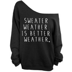 Sweater Weather is Better Weather - Black Slouchy Oversized CREW Sweatshirt ($29) found on Polyvore