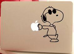 Snoopy4- Mac Decals Macbook Stickers Apple Skins Apple Mac sticker for Macbook Pro / Macbook Air / iPad1 / iPad2 / New iPad sticker. $6.99, via Etsy.