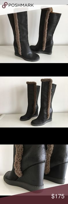 """SEE BY CHLOE BLACK LEATHER WEDGE TALL BOOTS SEE BY CHLOE BLACK LEATHER WEDGE TALL BOOTS, SIZE 41, WEDGE HEEL 4"""", SHAFT 11"""", CIRCUMFERENCE 14"""", PLATFORM 0.75"""", LEATHER AND LINING, RUBBER SOLE, BRAND NEW WITHOUT BOX See by Chloe Shoes Ankle Boots & Booties"""