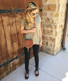 Olive Tee, Chloe Bag, Black Skinny Jeans