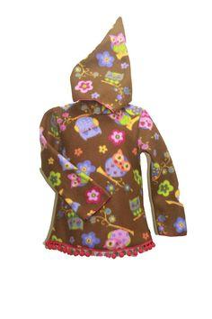 Fleeceshirt Kapuzenpullover Sweater Hoodie Eulen Blumen Bunt
