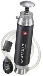 Katadyn Pocket Water Microfilter.  It's filter is designed to filter up to13,000 gallons.  The average person drinks about 2 liters a day which mean the Katadyn Water Filter can provide filtered water for up to 70 years for one person.