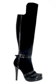 Custom and hand made high heel boot with platform. Made of goat and calf leather,