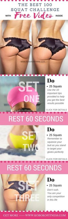 The best squat challenge you can do for butt and thighs with easy video and clear directions. Discover how to squat perfectly, benefits of squats and more