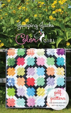Jumping Jacks scrap quilt pattern with variety of setting options for blocks, by Sharon McConnell