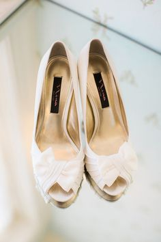 Ivory wedding heels with bows