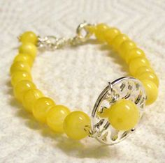 Handmade  Calcite beaded bracelet sunshine yellow by lyrisgems, $20.00