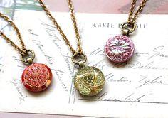 Czech Glass Necklace Demi Pendant Necklace Pink by veryDonna
