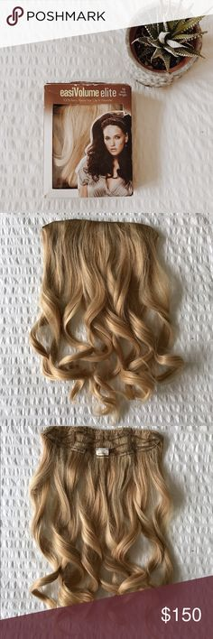 """100% Remy Hair clip in extension Beautiful blonde Clip in Extension.  18"""" of beautiful blonde highlighted hair. Wore this for my wedding and a few months after. I have platinum hair now so it doesn't match! 😩 real human hair means you can curl, straighten, wash etc. beautiful color. (Took a photo outside to show true color pic. #1) Other"""