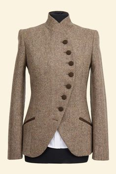 shetland tweed jacket | Emma Jacket Tan Herringbone Shetland Tweed