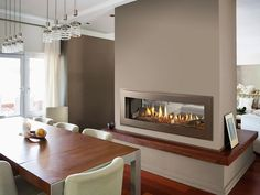 Image result for gas fireplace under wall, double sided, craftsman