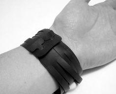 Black Wrap Bracelet Recycled Bicycle Innertube