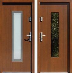 Drzwi wejściowe z aplikacjami inox model 499,2-499,12 w kolorze orzech