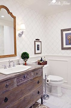 TIDBITS&TWINE Guest Bathroom Remodel - A mix of modern and vintage