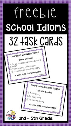 These 32 task cards focus on idioms related to school. They are perfect for Back to School but can be used throughout the year. These cards work well for all students whether they are English speakers or ESL students. Each card has a common idiom example, Vocabulary Activities, Speech Therapy Activities, Language Activities, Speech Language Pathology, Speech And Language, Language Arts, Idiom Examples, Teaching Reading, Guided Reading