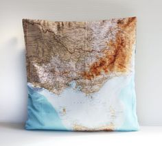 MAP cushion pillow cover VICTORIA state map by mybeardedpigeon, $55.00