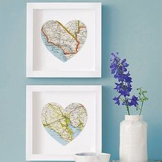 Bespoke Map Heart Artwork - contemporary - artwork - Not on the High Street Heart Artwork, Heart Map, Heart Print, Framed Maps, Wedding Prints, Vintage Maps, Contemporary Artwork, Map Art, Decoration