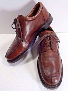 JOHNSTON MURPHY Mens Shoes 9.5 Brown Leather  Oxford Lace Up Moc Toe EU 43.5 #JohnstonMurphy #Oxfords
