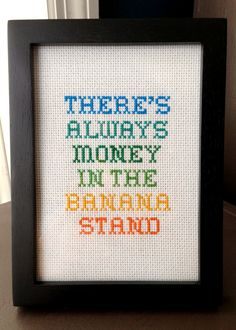 banana stand cross stitch - AWESOME. @you can find her in a thunderstorm you need this in your house.