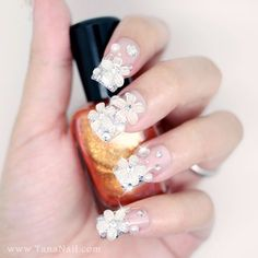 Japanese 3D Nail Art, Press On Nails, False Nails - Silver Rhinestone and Crystal Flower Decoration (T107N). $22.00, via Etsy.