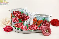 Casual Fashion Shoes for girls - Hand Painted Sneakers with roses and butterflies - Facebook: Lulush.Shoes