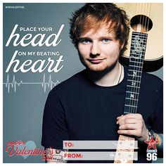 "Ed Sheeran - ""Place your head on my beating heart"" Say I Love You, My Love, Lifestyle Articles, Music Station, Ed Sheeran, Local News, Valentine Day Cards, Sayings, Heart"