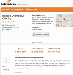 Excellent. Professional. Would recommend.  Check out this review!  https://www.customerlobby.com/reviews/33199/heirloom-oriental-rug-cleaning/review/593499?main_page=1