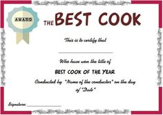 Certificate Of Achievement Template, Training Certificate, Award Certificates, Certificate Templates, School Certificate, Cooking Contest, Cooking Competition, New Cooking, Cooking With Kids