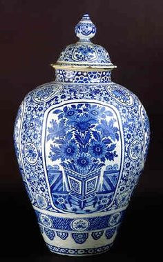 LARGE BLUE/WHITE DUTCH DELFTWARE POTICHE AND COVER  (How I love ginger jars.  They look great under a desk)