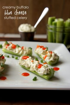 Creamy Buffalo Blue Cheese Stuffed Celery (perfect for watching your figure and still enjoying your football snacking favorites!)