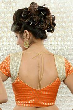 Buy Orange & Gold brocade weaved blouse in front leaf neck Online Brocade Blouse Designs, Best Blouse Designs, Saree Blouse Neck Designs, Simple Blouse Designs, Stylish Blouse Design, Patch Work Blouse Designs, Blouse Neck Patterns, Blouse Simple, Blouse Designs Catalogue