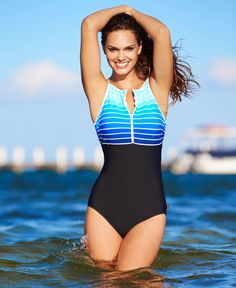 Reebok Swimsuit, High-Neck Striped Ombre One-Piece