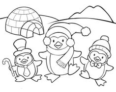 Penguin Coloring Pages Cute Family Page Dp