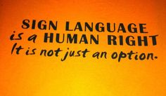 Sign language is a human right for those who cannot hear. Period.